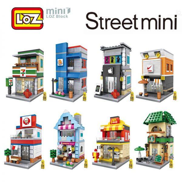 LOZ Mini City Street View Scene Coffee Shop Retail Store