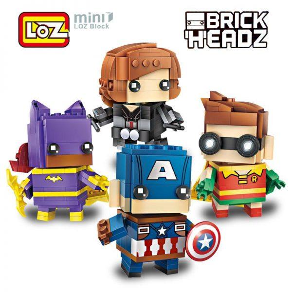 LOZ Brickheadz Robin Batgirl Black Widow Captain America