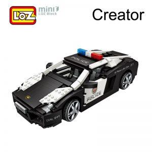 LOZ Police Car Model Black Sports Car
