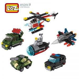LOZ War Mini - Police Car - Tank Submarine - Fighter - Helicopter 6PCS/SET
