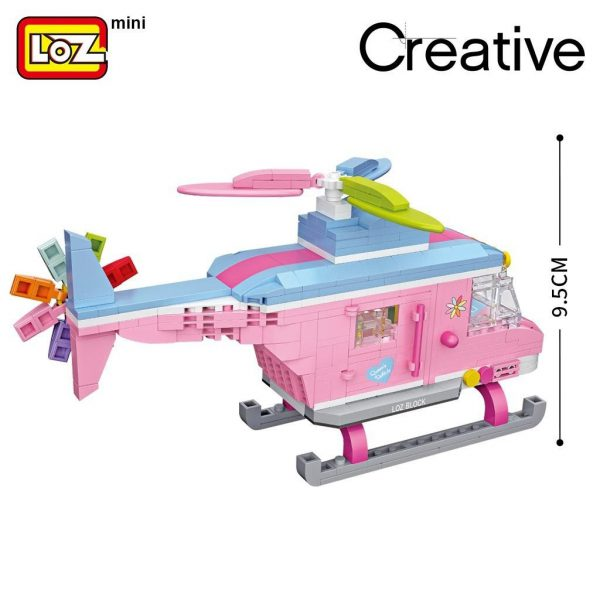 LOZ Mini Blocks Pink Helicopter Aircraft Official LOZ BLOCKS STORE