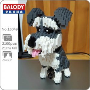 Balody 16049 Grey Schnauzer Dog Official LOZ BLOCKS STORE