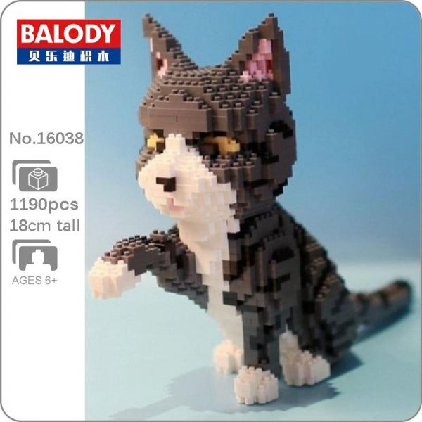 Balody 16038 Persian Cat Gray Official LOZ BLOCKS STORE