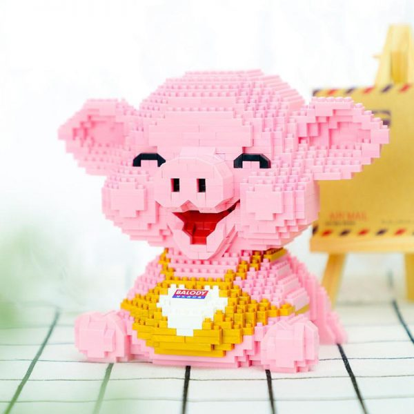 Balody 16125 Animal Pink Smile Pig Piggy Sit Official LOZ BLOCKS STORE