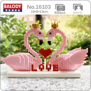 Balody 16103 Pink Swan Bird Love Heart For Valentine Official LOZ BLOCKS STORE