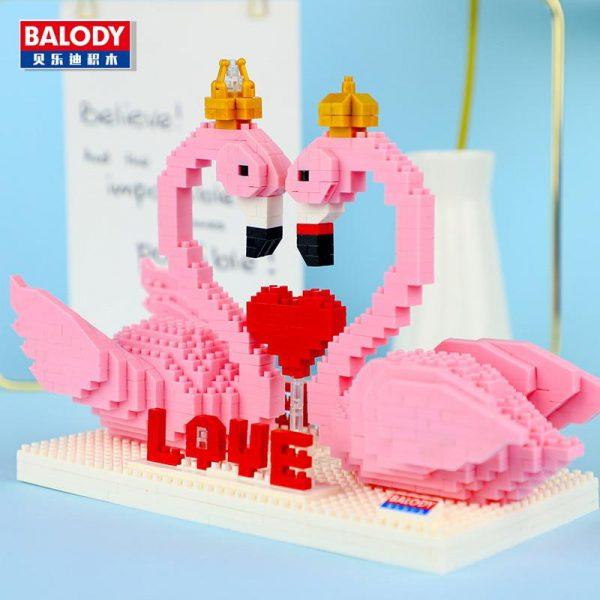 Balody 16103 Pink Swan Bird Love Heart For Valentine Official LOZ BLOCKS STORE