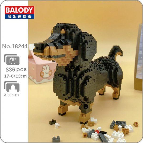Balody 18244 Animal Black Dachshund Dog Official LOZ BLOCKS STORE