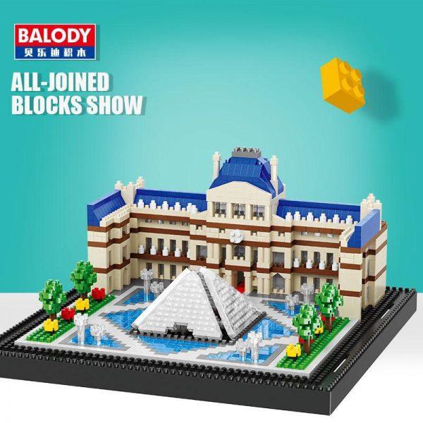 Balody 16076 Paris Louvre Museum World Famous Architecture Official LOZ BLOCKS STORE