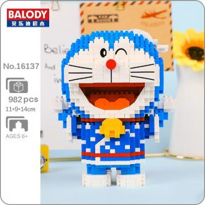 Balody 16137 Anime Doraemon Cat Robot Kimono Official LOZ BLOCKS STORE