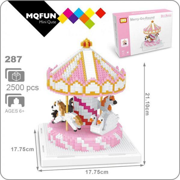 LNO 287 Amusement Park Merry-go-round Carrousel Horse Official LOZ BLOCKS STORE